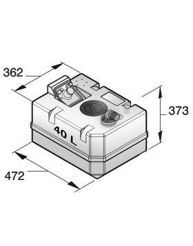Svartvattentank i plast, 40 l, inkl. anslutningar och inspektionslock (exkl. påfyllningsnippel)