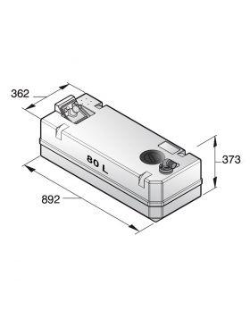 Svartvattentank i plast, 80 l, inkl. anslutningar och inspektionslock (exkl. påfyllningsnippel)