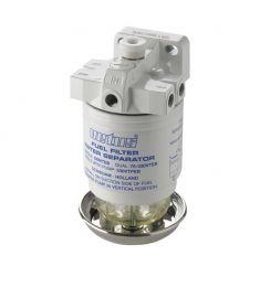 Vattenavskiljande bränslefilter CE/ABYC, single med luftningspump, 10 micron, max. 42 g/h (190 l/h)