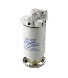 Vattenavskiljande bränslefilter CE/ABYC, single med luftningspump, 10 micron, max. (380 l/h)
