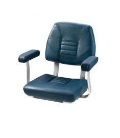 Skipper. Klassisk rorsmansstol med bekväma armstöd, mörkblå