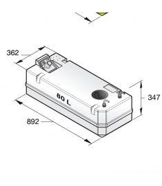 Dieseltank i plast, 80 l. Inkl. anslutningar, för 10 mm bränsleslang