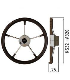 Ratt belagd med PU-skum typ KS, Ø32 cm - Svart