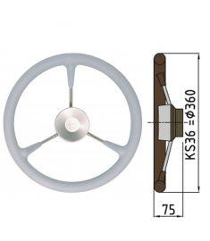 Ratt belagd med PU-skum typ KS - Ø36 cm - Grå