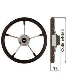 Ratt belagd med PU-skum typ KS - Ø36 cm - Svart