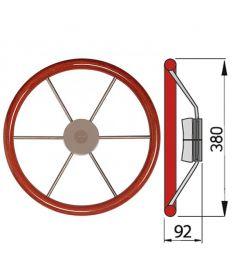 Skeppsratt med mahognyring, typ KW - Ø38 cm