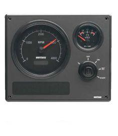 Motorinstrumentpanel typ MP22 12V, svarta mätartavlor (0-4000 rpm)