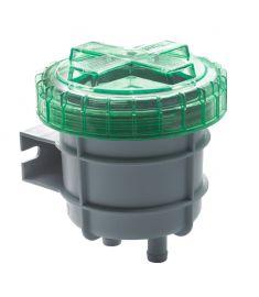 Luktfilter för avluftning från septik/avloppstank, liten modell, med anslutning för slang med i.d. 16 mm (107 x 111 x 111)