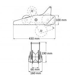 """Ledad bogrulle ankartåg upp till 13 mm (1/2"""") kätting"""