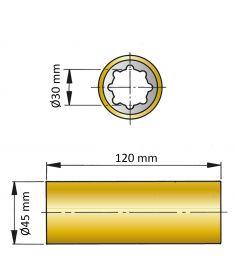 ØA 30 mm x ØB 45 mm x C 120 mm - brass