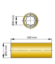 ØA 40 mm x ØB 55 mm x C 160 mm - brass