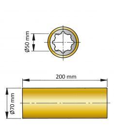 ØA 50 mm x ØB 70 mm x C 200 mm - brass