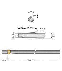 25 mm - L:2000 mm - Propelleraxel inkl. mutter med zinkanod