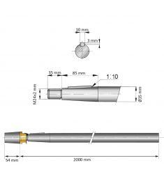 35 mm - L:2000 mm - Propelleraxel inkl. mutter med zinkanod