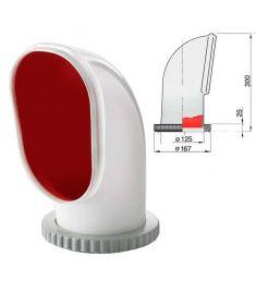 Däcksventilator typ Samoen, i silikon med röd insida, Ø 125 mm (inkl, gängad ring)