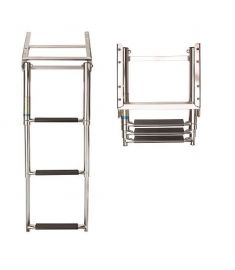 Telescopic cassette ladder 3 steps, SS316 f. platform, synthetic black grips