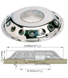 Däcksventilator typ UFO i rostfritt stål, med transparent glas (inkl raster i plast för insidan)
